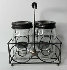 Patriotic Farmhouse Mason Jars Tea Light Candle Holders In Metal Stand With Star