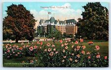 Postcard Canada Victoria Empress Hotel BC Vintage View Old Car D7