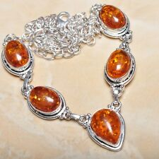 "Sterling Silver Necklace 21.5"" #N00355 Handmade Baltic Faux Amber Gemstone 925"