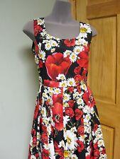 Dolce & Gabbana AUTH NWT Red Poppy Wht Daisy Print Fit & Flare Poplin Dress 44