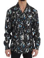 NEW $1060 DOLCE & GABBANA Shirt Black Silk JAZZ Motive Print Casual Mens 40 / M
