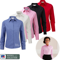 RUSSELL COLLECTION LADIES SHIRT LONG SLEEVE CLASSIC FIT COLLAR SMART WORK XS-4XL