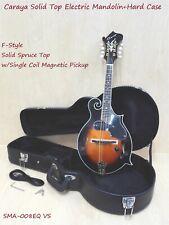 Caraya 008EQVS F-Style Solid Top Electric-Mandolin,Vintage Sunburst+Hard Case
