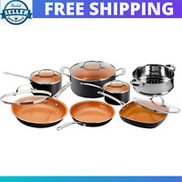 Non-Toxic Gotham Steel 12 Piece Nonstick Ceramic Pots and Pans Cookware Set NEW.