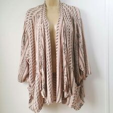 Ecote Urban Outfitter XSmall Boho Aztec Rayon Open Front Cardigan Pocket Pink B2