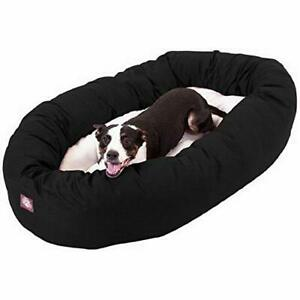 40 inch Black & Sherpa Bagel Dog Bed By Majestic Pet Products