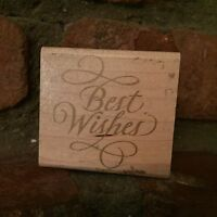 Rubber Stampede Stamp A865E Elegant Best Wishes Cursive Script Word Wood-Mounted