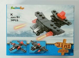 FUN LITTLE TOYS 3 in 1 - Mini Building Blocks Set - Airplane 34 Pieces NEW.