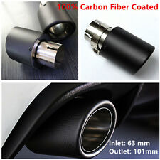 Universal 100% Real Carbon Fiber Coated Auto Truck Exhaust End Pipe Tip 63-101mm