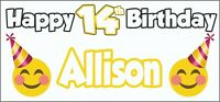 Emoji Themed Personalised 14th Birthday Banner x2 Party Decorations ANY NAME