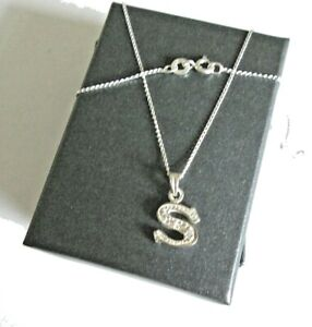 Stirling silver Initial *S* Pendant Necklace  *in a gift box*