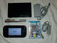 Nintendo Wii U Black 32GB Console W/ Super Smash Bros WII U, gamepad, power cord