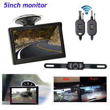 5'' LCD Car Rear View Monitor Wireless Kit Reverse Backup IR Night Vision Camera