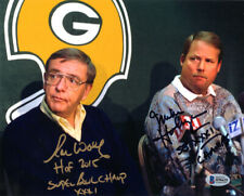 RON WOLF & MIKE HOLMGREN SIGNED 8x10 PHOTO + SB XXXI CHAMPS PACKERS BECKETT BAS