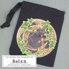 CAT PENTAGRAM cotton drawstring bag, 10cm x13cm LISA PARKER Wicca Spell Pagan