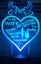 3D Led Remote Night Light Color Changing Wife Heart Lamp Engagment Ring Wedding