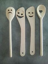 Set de cuisine: 2 cuillères, 2 spatules en bois / Idées Cadeaux / Cuisine Rigolo