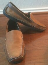 LL Bean Loafers Moccasins Driver Shoes Casual Leather Dark Brown & Tan Sz 14