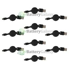 10 USB Black Retractable Micro Battery Charger Data Cable For Android Cell Phone