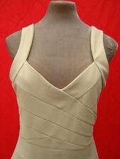 cream beige nude open back wrap effect Wiggle dress 10 12 14 figure hugging