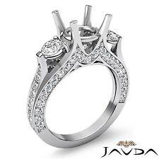 Diamond Engagement Unique Three 3 Stone Ring Platinum 950 Oval Semi Mount 1.3Ct