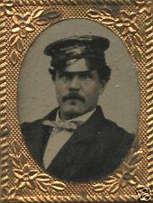 CIVIL WAR ERA TINTYPE SHINY LEATHER KEPI HAT HANDSOME MAN BOWTIE OLD  PHOTO