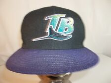 Tampa Bay Rays 7 1/4 Fitted Baseball Hat Cap Black Purple pre-owned
