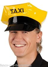 Ladies Mens Adult Yellow Taxi Driver Stag Do  Fancy Dress Costume Outfit  Hat