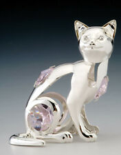 "SWAROVSKI CRYSTAL ELEMENTS ""Kitty Cat"" FIGURINE - ORNAMENT SILVE PLATED"