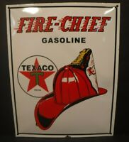 "Texaco Fire-Chief Gasoline Porcelain Baked Sign Gas Oil Autos 12.75"" x 16.250"""