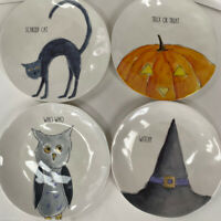 "RAE DUNN Melamine Halloween 10""Plates Scaredy Cat Trick Treat Witchy Owl LL HTF"