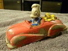 Rare Vintage 1930's SUN RUBBER Co. WALT DISNEY Donald Duck & Pluto Viceroy Car