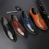 Mens Leather Casual Brogues Formal Office Smart Work Lace Up Oxford Brogue Shoes