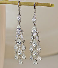 18K White Gold Filled -2.6'' Waterdrop Topaz White Zircon Wedding Hoop Earrings