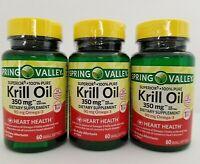 Spring Valley Superior Krill Oil 350mg + 90mg Omega-3 60 Softgels (3pk) 04/21+