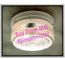 "NEW Drum WHITE Vintage GLASS Retro CEILING LIGHT FIXTURE 8"" Kitchen Bath NEW"