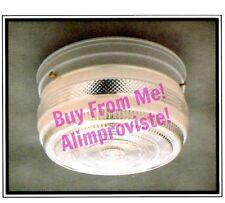 NEW Drum WHITE Vintage GLASS Retro CEILING LIGHT FIXTURE 6