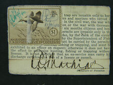 Indiana Permanent Lifetime Hunting License Ww1; issued 1935; with stamp Rw-7;Vet