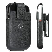 Genuine Blackberry Q10 Black Leather Swivel Holster w/ Belt Clip - HDW-50678-001