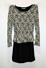 Unbranded Brand Cream Floral Black Long Sleeve Peplum Dress Size S BNWT #TO77