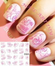 20 NAIL STICKERS WATER TRANSFER TATTOO ADESIVO ROSA