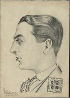 DISEGNO-PARTITO SARDO -RITRATTO ESPONENTE PARTITO SARDO-GOVI-BOLOGNA-1923