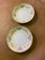 "Antique Noritake ""M"" Hand Painted Set of Two Salad Bowls."