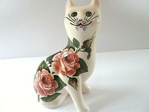 GRISELDA HILL POTTERY HANDPAINTED CAT WILD ROSE SCULPTURE signed A.G.
