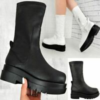 Womens Elasticated Stretch Ankle Boots Calf High Comfy Fashion Winter Shoes New