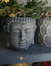 Latex and fiberglass backer planter mold buddha head planter mold