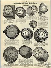 1914 PAPER AD Seth Thomas Waterbury Car Auto Automobile Motorcycle Clock Fiat