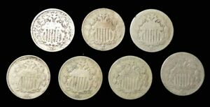 (7) 1867 -1869 UNITED STATES SHIELD NICKEL 5C CIRCULATED 7 COIN LOT