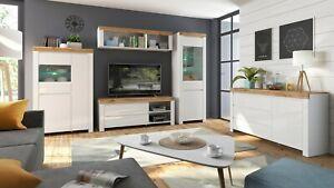 Holten Collection Living Room Furniture Set White Wotan Oak LED Wood Effect