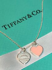 "Return to Tiffany Pink Enamel Mini Double Heart Tag 16"" Silver Necklace"